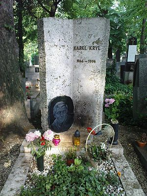 Karel Kryl - Kryl's grave at the Břevnov cemetery at St. Margharet in Prague