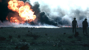Burning oilfield during Operation Desert Storm...