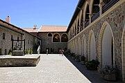 Kykkos Monastery in Pedoulas (left) and Hala Sultan Tekke near Larnaca Salt Lake (right).