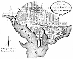 Tiber Creek - Andrew Ellicott's revision of L'Enfant's Plan, showing Washington City Canal