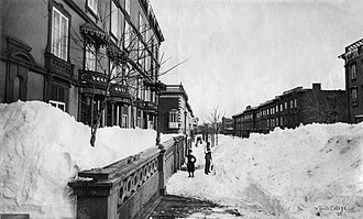 McGill College Avenue - McGill College Avenue in 1869, following a snow storm, looking south from Sherbrooke Street.