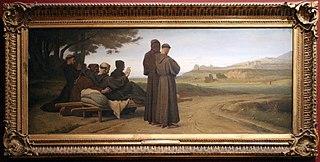 Saint Francois d'Assise, transporté mourant à Sainte-Marie-des-Anges, bénit la ville d'Assise