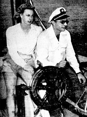 Sara Northrup Hollister - Hubbard and Northrup aboard the schooner Blue Water II in Miami, Florida, June 1946. The Church of Scientology has republished this photograph with Northrup airbrushed out.