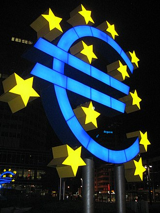 Euro sign - A euro light sculpture at the European Central Bank in Frankfurt.