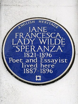 Jane Wilde - Lady Jane Francesca Wilde 'Speranza' 1821-1896 Poet and Essayist lived here 1887-1896