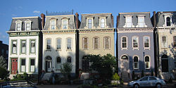 French style houses in a row face Lafayette Square Park