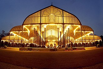 Lal Bagh - The Lalbagh Glasshouse at night