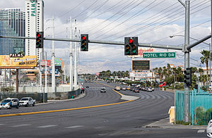 Flamingo Road (Las Vegas) - Flamingo Road and Hotel Rio Drive intersection.
