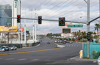 Flamingo Road (Las Vegas) - Flamingo Road and Hotel Rio Drive intersection.