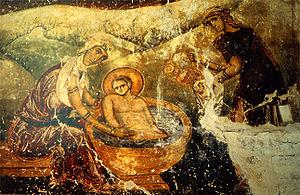 Midwife Salome (fresco in monastery of Latomou)