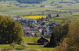 Blick auf Laupersdorf vom Wanderweg nach Höngen aus, 2016