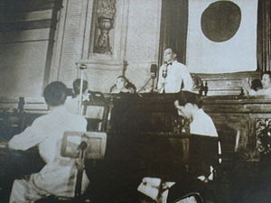 Constitution of the Philippines - José P. Laurel, President of the Second Philippine Republic, addresses the National Assembly at what is now the Old Legislative Building to approve the 1943 Constitution.