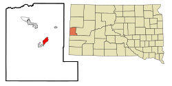 Lawrence County South Dakota Incorporated and Unincorporated areas Deadwood Highlighted.svg