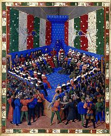 Miniature représentant une réunion avec le roi trônant devant des personnages assis en bordure d'un quadrilatère