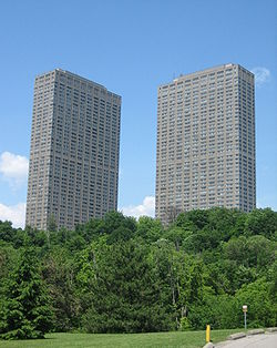 Leaside Towers, the tallest buildings in Thorncliffe Park and East York