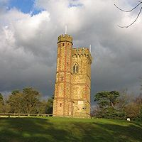 The tower on the top of Leith Hill the highest point in Surrey