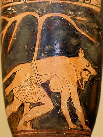 Werewolf - Dolon wearing a wolf-skin. Attic red-figure vase, c. 460 BC.