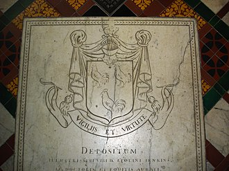 Jesus College, Oxford - The tombstone of Leoline Jenkins in the college chapel
