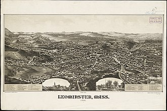 Leominster, Massachusetts - Lithograph of Leominster from 1886 by L. R. Burleigh with list of landmarks as well as depictions of town square and Commons areas
