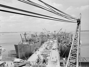 South Portland, Maine - Liberty ships being built along the waterfront (August 1942)