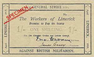 History of Limerick - Money printed by the Limerick Soviet in 1919