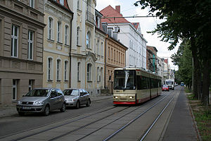 Trams in Frankfurt (Oder) - GT6M tram no 304 in Lindenstrasse, Frankfurt (Oder), 2010.