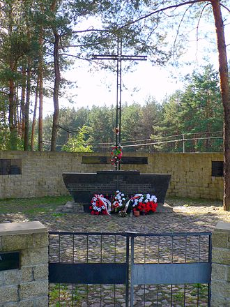 Polish–Lithuanian relations during World War II - Monument of Polish victims of Ponary massacre. Tens of thousands of Poles and Jews were executed there by Germans and their Lithuanian auxiliaries.