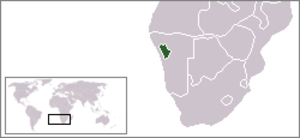 Damaraland - Location of Damaraland (green) within South West Africa (grey).