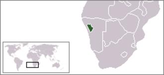 Damaraland - Location of Damaraland (green) within South West Africa (grey).