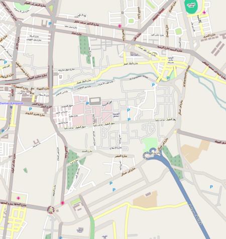 الجامع الأموي (دمشق) على خريطة دمشق القديمة
