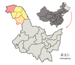 Location of the county (red) in Da Hinggan Ling Prefecture (yellow) and Heilongjiang
