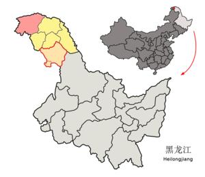 Mohe County - Image: Location of Mohe within Heilongjiang (China)