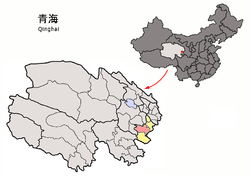 Location of Zêkog within Qinghai (China).png