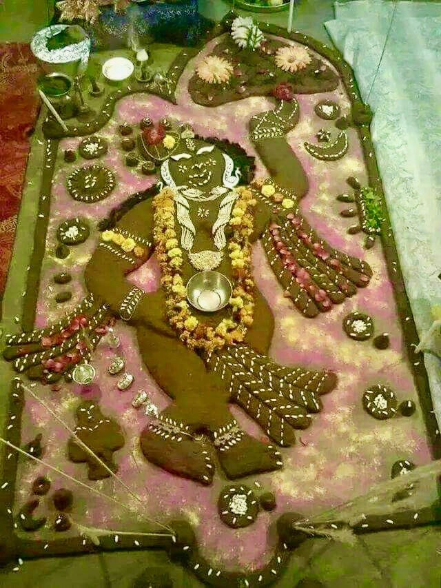 Lord Krishna and Goverdhan parwat in his left hand's finger