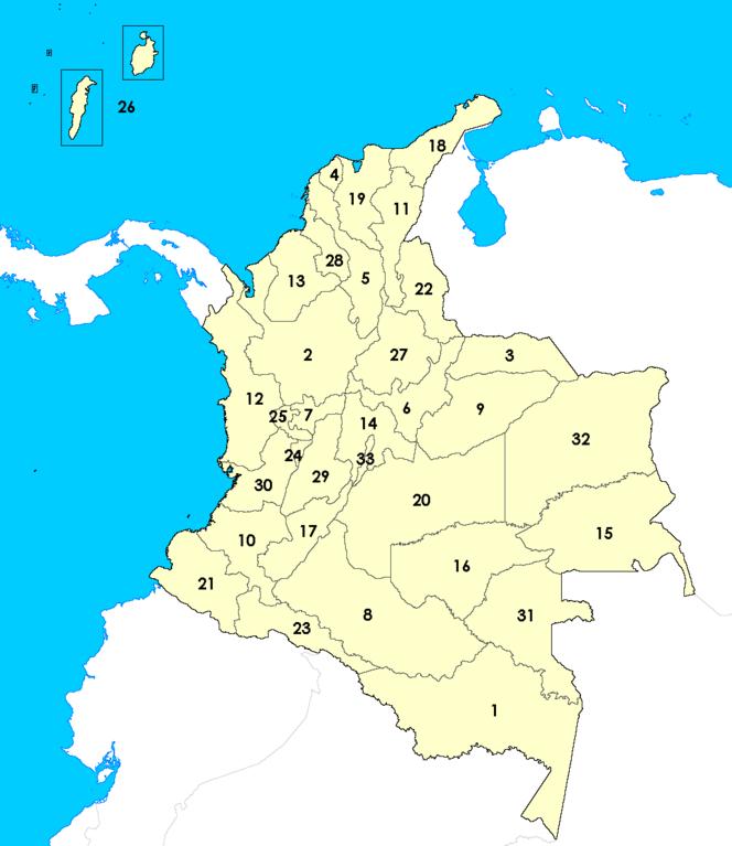 Archivo Los Departamentos De Colombia Numerados Png Wikipedia La Enciclopedia Libre