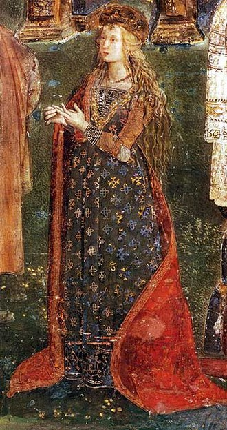 Lucrezia Borgia - Possible portrait of Lucrezia as St. Catherine of Alexandria in a fresco by Pinturicchio, in the Sala dei Santi the Borgia apartments in the Vatican c. 1494.
