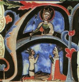 Elizabeth of Bosnia - Elizabeth and Louis kneeling in front of Catherine of Alexandria, Chronicon Pictum