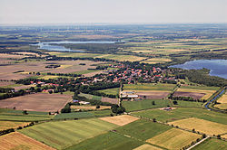Aerial view with the lakes of Dahlem-Halem (l), and of Flögeln (r)