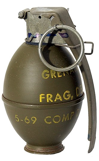 Fragging - M26 grenade, issued to the U.S. Army and U.S. Marines in the Vietnam War, used in many fragging incidents.