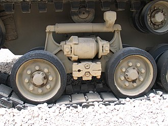 Vertical volute spring suspension - The HVSS system of an Israeli M51 Super Sherman tank.