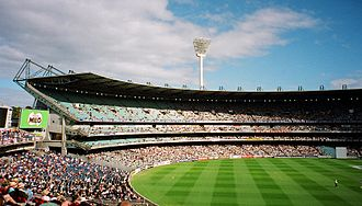 View of the Great Southern Stand during the 1998 Boxing Day Test match. The Olympic Stand is visible at the bottom left of the photo. MCG99.jpg