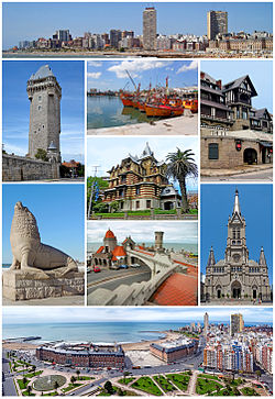 From the top, left to right: city skyline, Torre Tanque, fishing boats in the port, Saint Michael chalet, Castagnino Museum, Sea Lion Monument, Torreón del Monje, the Mar del Plata Cathedral, and a panoramic view from Edén Palace