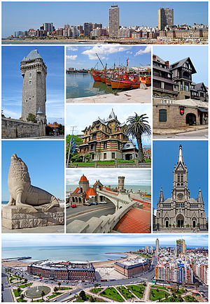 Mar del Plata - From the top, left to right: city skyline, Torre Tanque, fishing boats in the port, Saint Michael chalet, Castagnino Museum, Sea Lion Monument, Torreón del Monje, the Mar del Plata Cathedral, and a panoramic view from Edén Palace