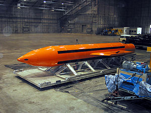 2017 Nangarhar airstrike - A photo of a MOAB weapon in preparation for its testing at the Eglin Air Force Armament Center.