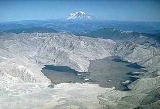 Spirit Lake (Washington) - Image: MSH80 blast area spirit lake with rainier 10 04 80 med