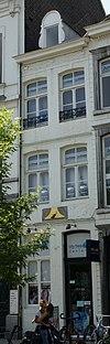 foto van Huis met smalle lijstgevel met gevelsteen met kop IN DEN BRUEYNE BAERT.