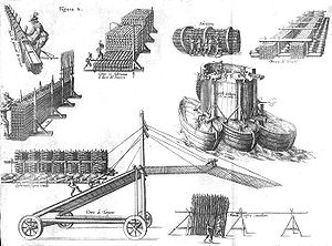 Pompeo Targone - Machines for the Siege of Ostend developed by Pompeo Targone and G. Gamurini. Drawn by P. Giustiniano, Delle guerre di Fiandra libri VI, Antwerp, 1609.