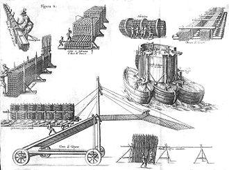 Pompeo Targone - Machines for the Siege of Ostend developed by Pompeo Targone and G. Gamurini. Drawn by P. Giustiniano, Delle guerre di Fiandra libri VI, Antwerp, 1609.