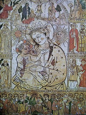 Woodcut - The Fire Madonna (Madonna del Fuoco, in Italian), Cathedral of Forlì, in Italy
