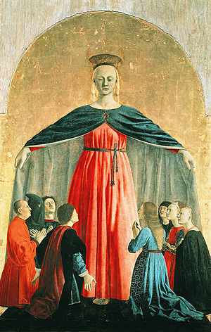 Sub tuum praesidium - The Virgin of Mercy (Virgen de la Merced), depicting protection under the mantle of the Madonna. Oil on panel, 15th century.